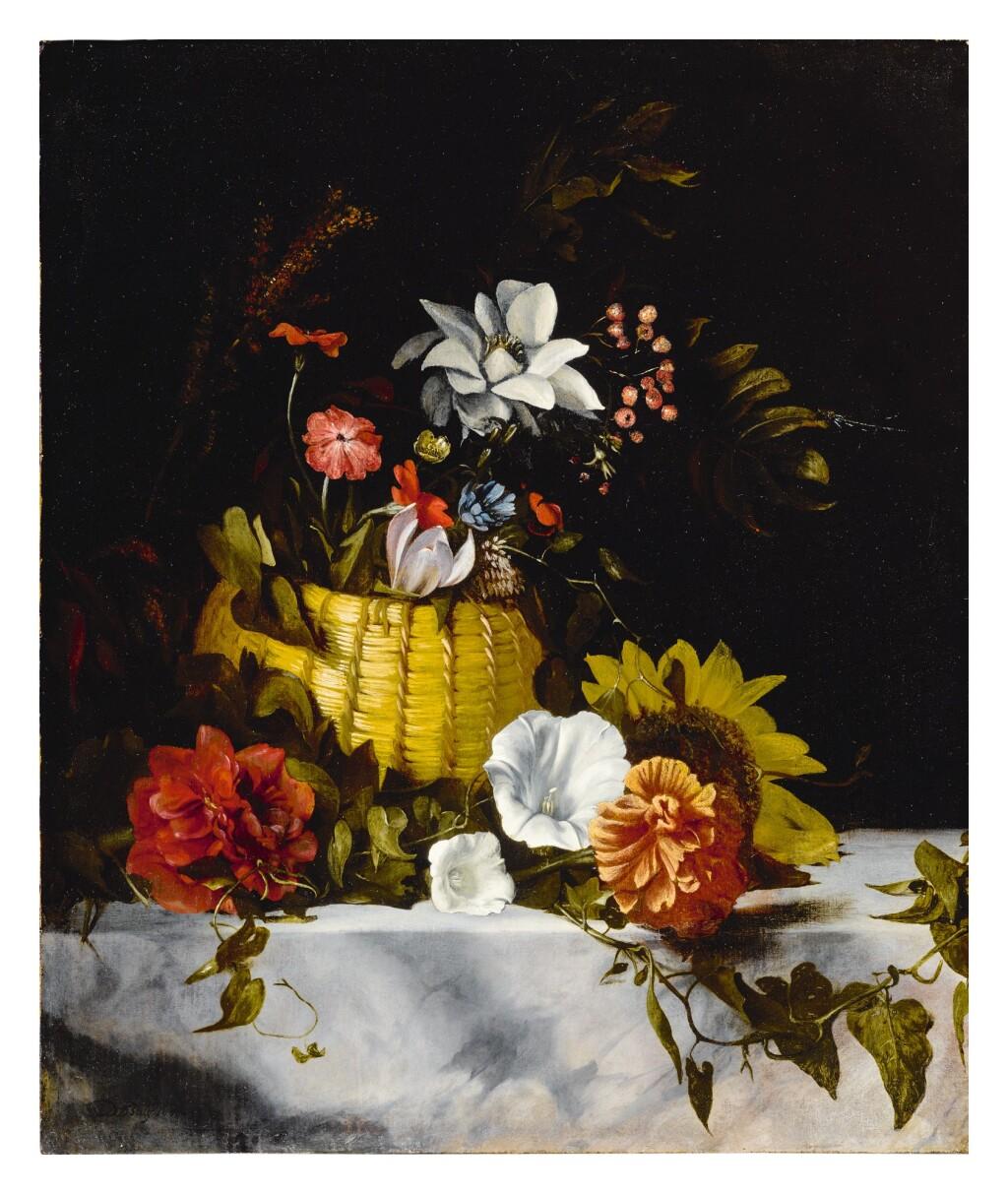 DIRCK DE BRAY     STILL LIFE OF A BASKET OF FLOWERS ON A LARGE MARBLE LEDGE