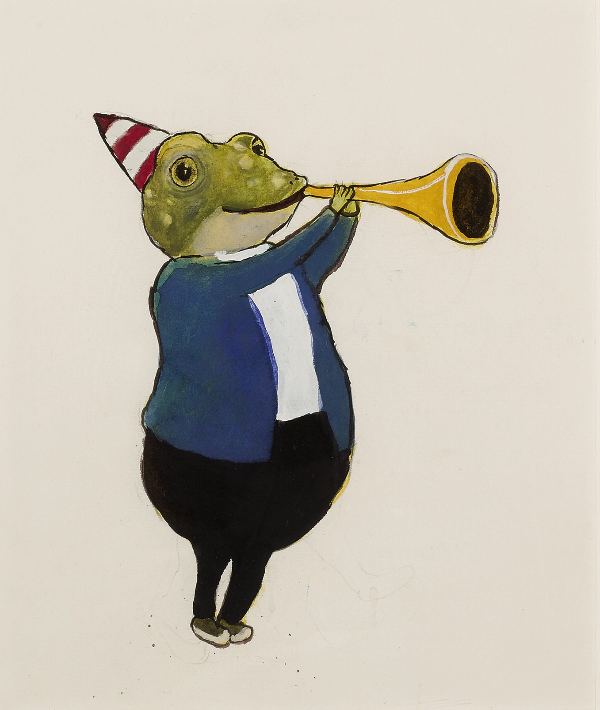 View full screen - View 1 of Lot 1534. DONALD SAAF   FROG WITH TRUMPET.