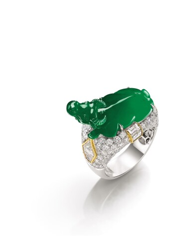 View 3. Thumbnail of Lot 1629. Jadeite and Diamond 'Lucky Ox' Ring | 天然翡翠 配 鑽石 【牛氣沖天】戒指.