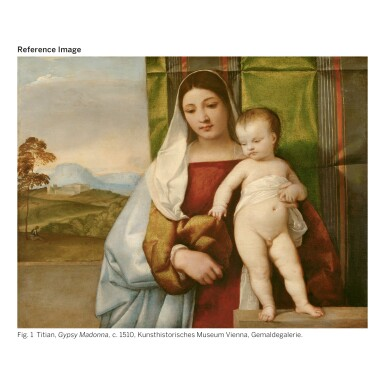 View 2. Thumbnail of Lot 15. Sold Without Reserve | BONIFAZIO DE' PITATI, CALLED BONIFAZIO VERONESE | MADONNA READING A BOOK AND HOLDING THE STANDING CHRIST CHILD, WITH A LANDSCAPE BEYOND   .