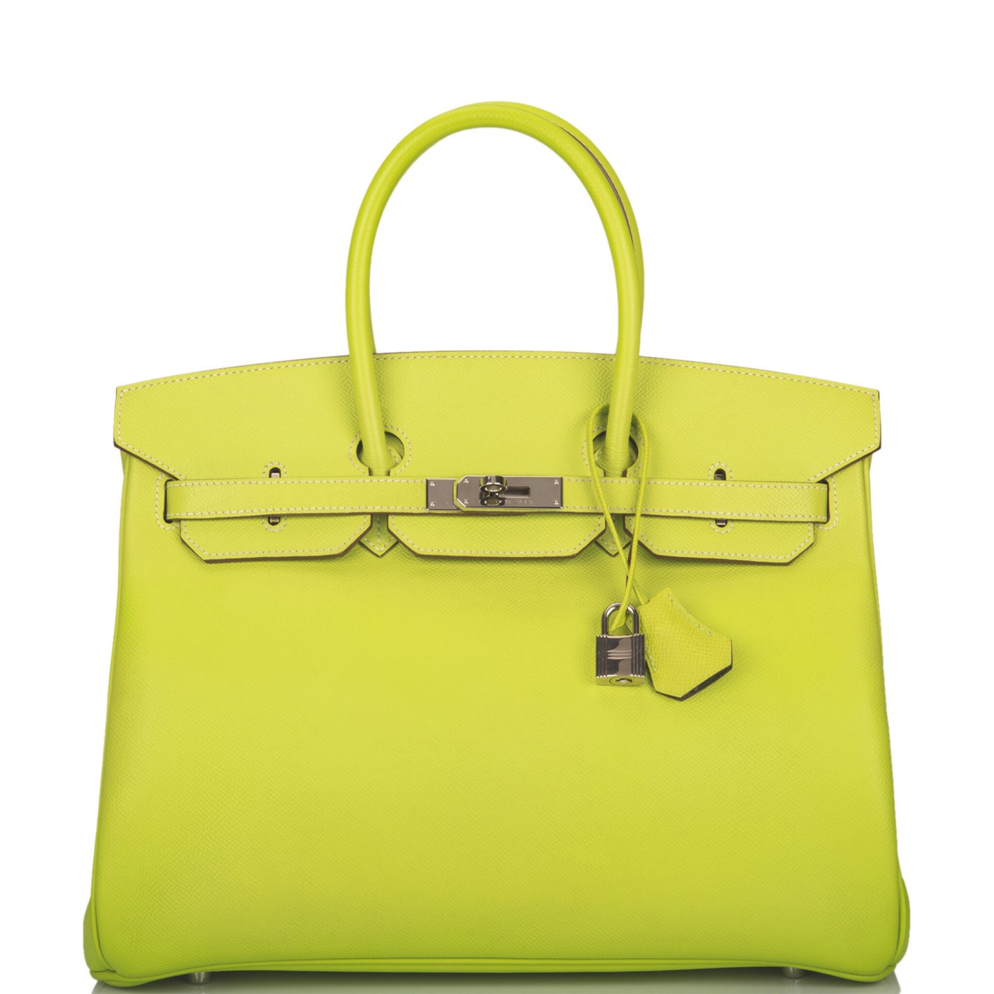 """View full screen - View 1 of Lot 31. Hermès Bi-color Kiwi and Lichen """"Candy"""" Birkin 35cm of Epsom Leather with Palladium Hardware."""