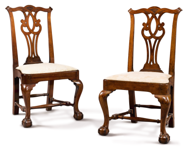 View 1. Thumbnail of Lot 1083.  IMPORTANT PAIR OF CHIPPENDALE CARVED MAHOGANY COMPASS SEAT SIDE CHAIRS, ATTRIBUTED TO JOHN TOWNSEND, NEWPORT, RHODE ISLAND, CIRCA 1770.