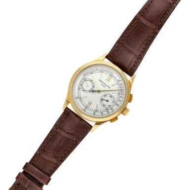 View 5. Thumbnail of Lot 355. Reference 5170  A yellow gold chronograph wristwatch with pulsation scale, Made in 2011 .