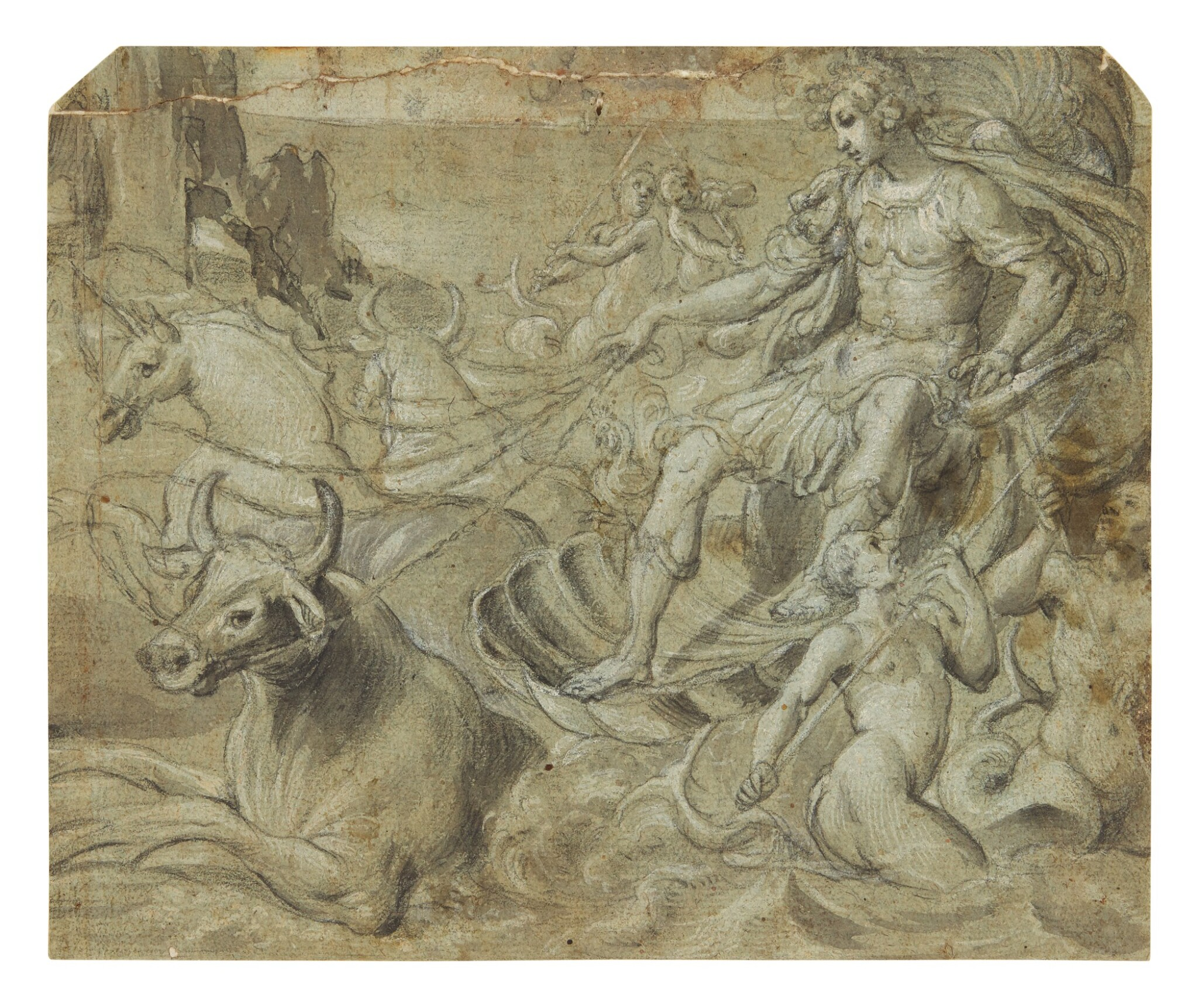 View full screen - View 1 of Lot 593. FLORENTINE SCHOOL, CIRCA 1580 | A MYTHOLOGICAL FIGURE RIDING A SHELL-CHARIOT DRAWN BY BULLS AND A UNICORN, WITH TRITONS PLAYING IN THE WAVES.