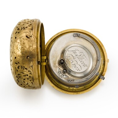 View 3. Thumbnail of Lot 300. JOHN ELLICOTT | A GOLD PAIR CASED REPOUSSE QUARTER REPEATING WATCH, CIRCA 1750.