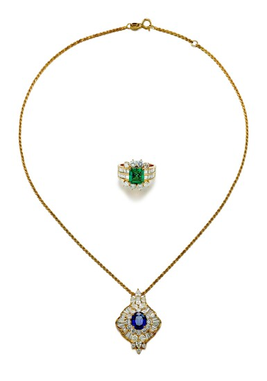 View 1. Thumbnail of Lot 9189.  EMERALD AND DIAMOND RING; AND SAPPHIRE AND DIAMOND PENDENT NECKLACE   祖母綠 配 鑽石 戒指; 及 藍寶石 配 鑽石 項鏈.