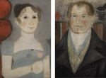 AMERICAN SCHOOL, 19TH CENTURY   PAIR OF FOLK PORTRAITS OF HUSBAND AND WIFE