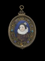ATTRIBUTED TO JEAN LIMOSIN (ACTIVE CIRCA 1615-1635)  FRENCH, LIMOGES, EARLY 17TH CENTURY | OVAL PORTRAIT OF ANNE OF AUSTRIA (1601-1666)