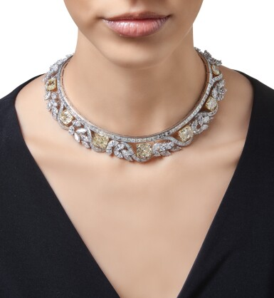 View 3. Thumbnail of Lot 518. FANCY COLORED DIAMOND AND DIAMOND NECKLACE, GRAFF | 彩色鑽石配鑽石項鏈,Graff.