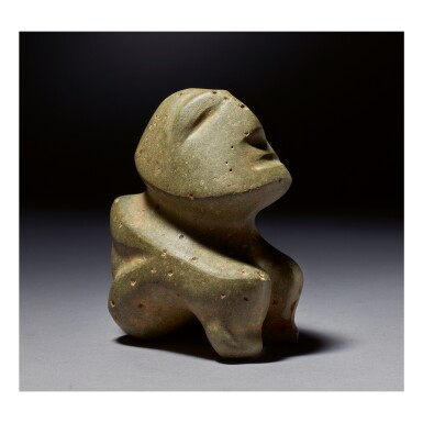 View 1. Thumbnail of Lot 135. MEZCALA STONE SEATED FIGURE LATE PRECLASSIC, CIRCA 300 - 100 BC.
