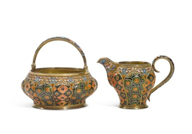 A silver-gilt and cloisonné enamel sugar bowl and creamer, 6th Artel, Moscow, 1908-1917