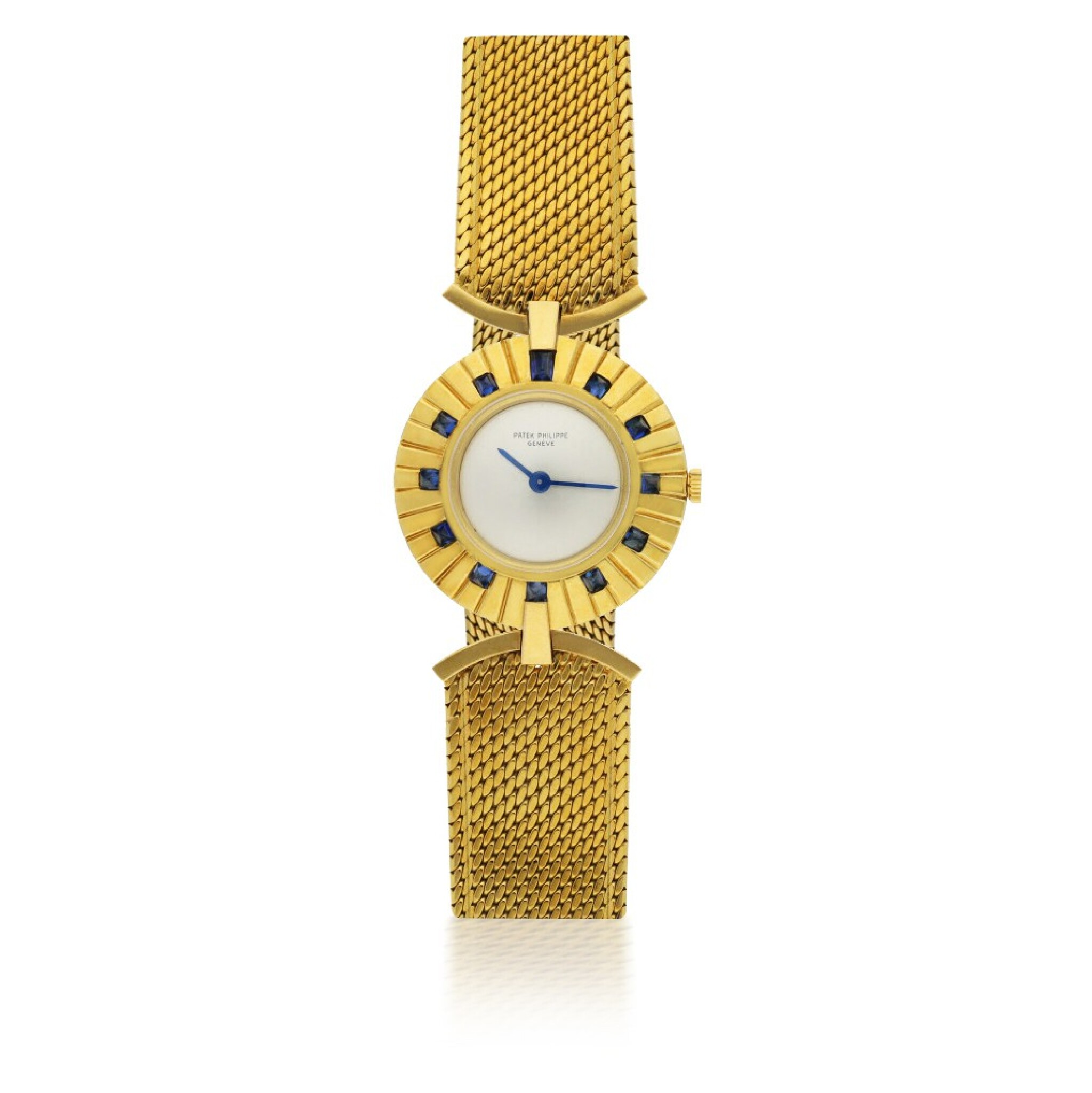 View full screen - View 1 of Lot 120. PATEK PHILIPPE   REF 3453, A YELLOW GOLD AND SAPPHIRE-SET BRACELET WATCH CIRCA 1945.