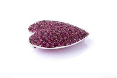 View 2. Thumbnail of Lot 19. Ruby brooch/pendant combination, 'Cuore', Michele della Valle.