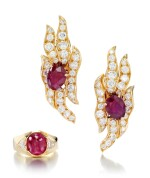 PAIR OF RUBY AND DIAMOND EAR CLIPS AND A RUBY AND DIAMOND RING