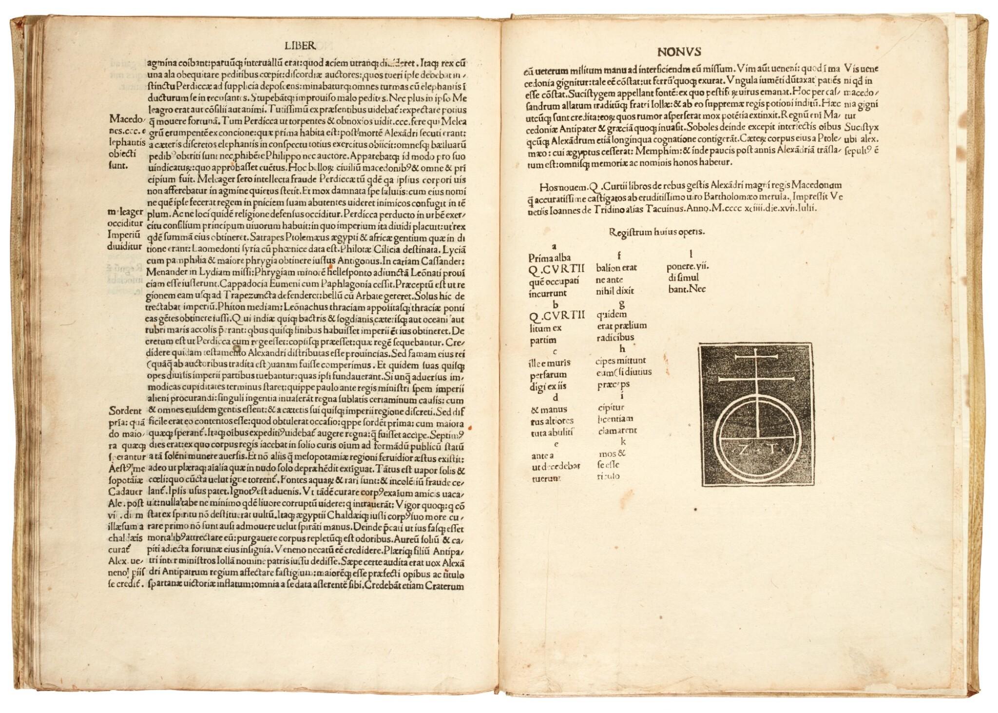 View full screen - View 1 of Lot 180. Curtius Rufus, Historiae Alexandri Magni, Venice, 1494, modern vellum.