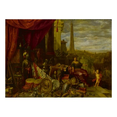 FLEMISH SCHOOL, LAST QUARTER OF THE SEVENTEENTH CENTURY | AN ALLEGORICAL STILL LIFE OF ARMOR, WEAPONS, INSTRUMENTS, VANITAS SYMBOLS, AND OTHER ELEMENTS AND FIGURES SET UPON A STONE LEDGE WITH AN OBELISK AND A CITY BEYOND