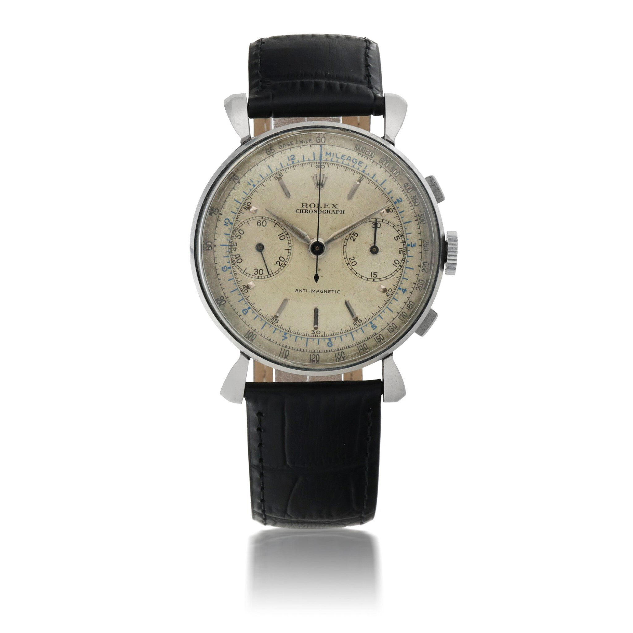 View full screen - View 1 of Lot 910. ROLEX | REF 4099   STAINLESS STEEL CHRONOGRAPH WRISTWATCH WITH FLARED LUGS   CIRCA 1940.