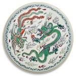 A DOUCAI 'DRAGON AND PHOENIX' PLAQUE QING DYNASTY, 18TH CENTURY   清十八世紀 鬪彩龍鳳呈祥紋圓屏