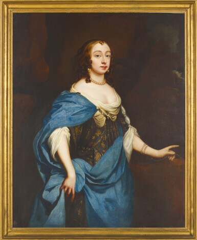 View 2. Thumbnail of Lot 185. MANNER OF SIR PETER LELY | Portrait of a lady, three-quarter-length, in an embroidered dress with a blue silk wrap.