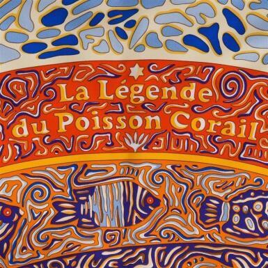 "View 2. Thumbnail of Lot 130. Hermès ""La Legende du Poisson Corail"" Silk Twill Scarf 90cm."