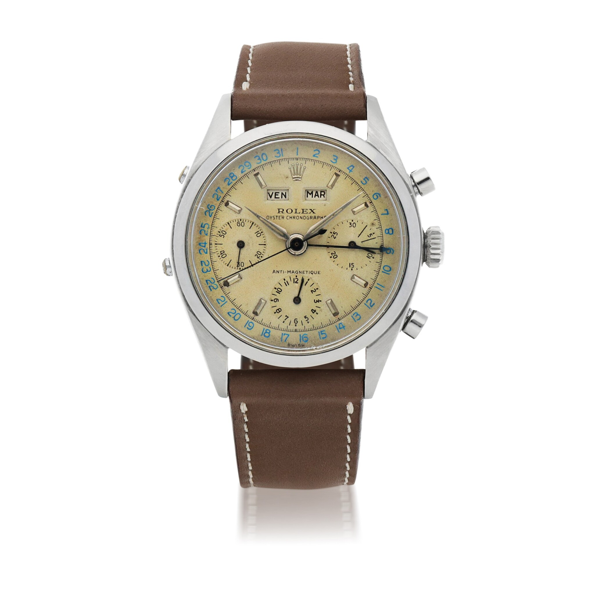 View full screen - View 1 of Lot 18. 'JEAN-CLAUDE KILLY' DATO-COMPAX, REF 6236 STAINLESS STEEL TRIPLE CALENDAR CHRONOGRAPH WRISTWATCH CIRCA 1958 [勞力士6236型號「'JEAN-CLAUDE KILLY' DATO-COMPAX」精鋼全日曆計時腕錶,年份約1958].