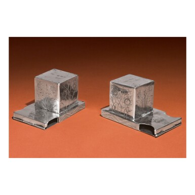 View 1. Thumbnail of Lot 177. A PAIR OF SILVER TEFFILIN BOXES, PROBABLY POLISH, 19TH CENTURY.