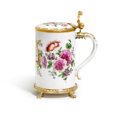 View 1. Thumbnail of Lot 15. AN AUSTRIAN PORCELAIN TANKARD AND COVER, WITH GERMAN SILVER GILT MOUNT, MOST PROBABLY JOHANN BAPTISTE SEITZ, CONSTANCE, CIRCA 1760.