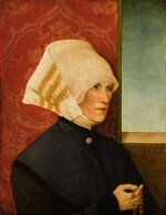 Portrait of a lady, half length, wearing black with a white headdress, holding a rosary