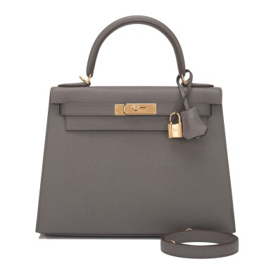 Hermès Etain Sellier Kelly 28cm of Epsom Leather with Gold Hardware