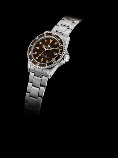 View 6. Thumbnail of Lot 2270. Rolex | 'Double Red' Sea-Dweller, Reference 1665, A stainless steel wristwatch with tropical dial, date and bracelet, Circa 1972 | 勞力士 | 'Double Red' Sea-Dweller 型號1665  精鋼鏈帶腕錶,備日期顯示及棕式錶盤,約1972年製.