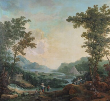 View 1. Thumbnail of Lot 178. A capriccio landscape with a pyramid beyond.