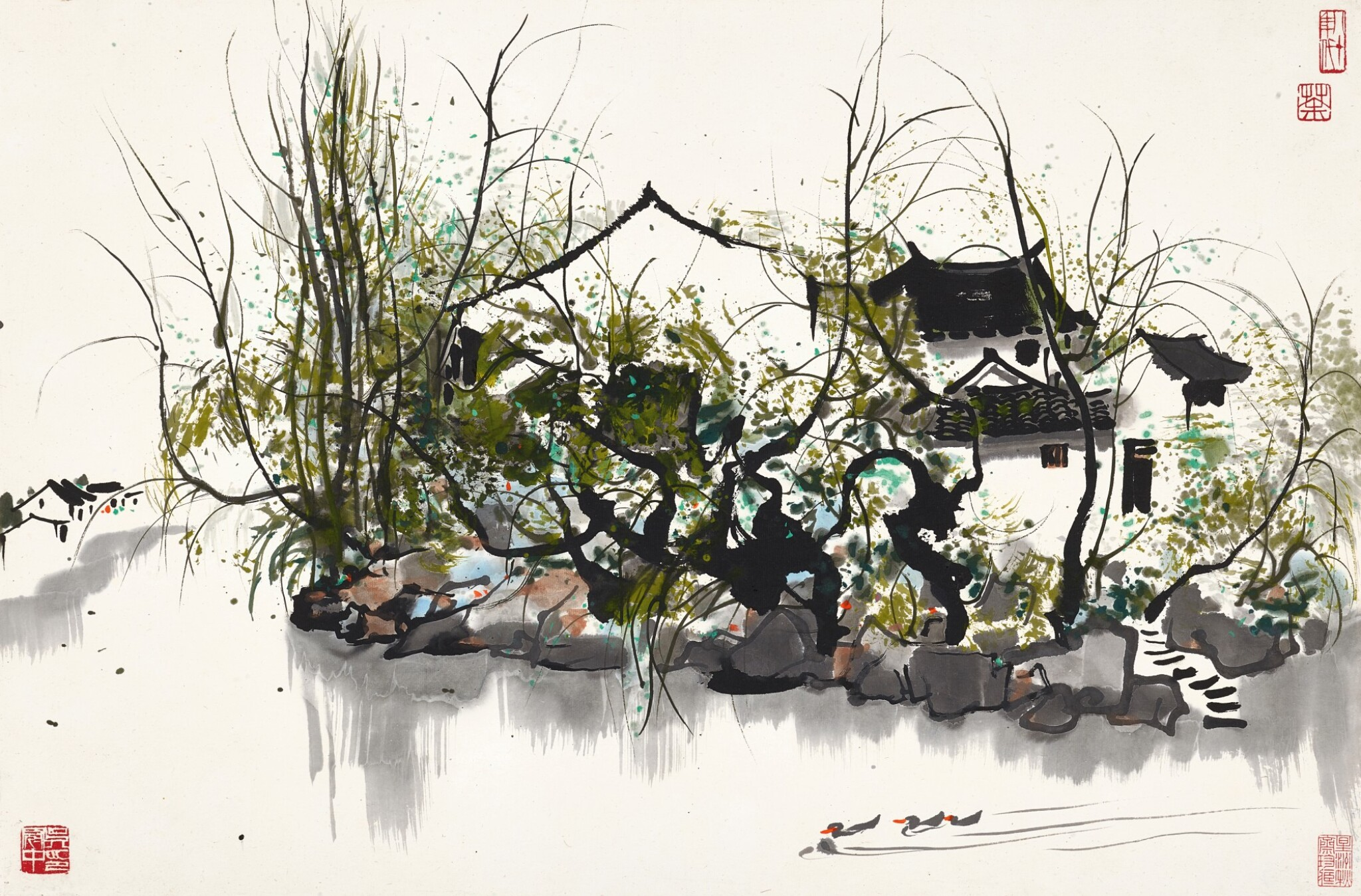 View full screen - View 1 of Lot 2521. Wu Guanzhong 吳冠中 | Residences by the River 春江水暖鴨先知.
