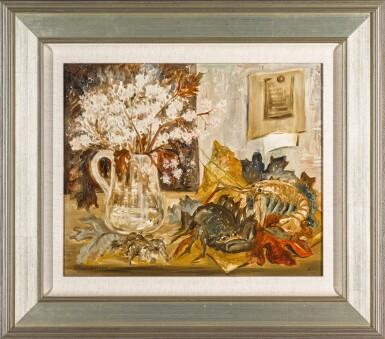 View 2. Thumbnail of Lot 126. Nature Morte, Crabe et Fleurs.