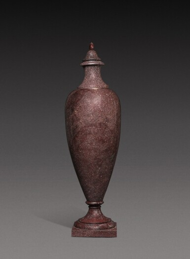 View 2. Thumbnail of Lot 136. A large Italian porphyry urn, 18th century and later.