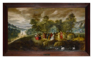 View 2. Thumbnail of Lot 552. An extensive landscape with Apollo and the Muses at center, with animals in the foreground and a castle beyond.