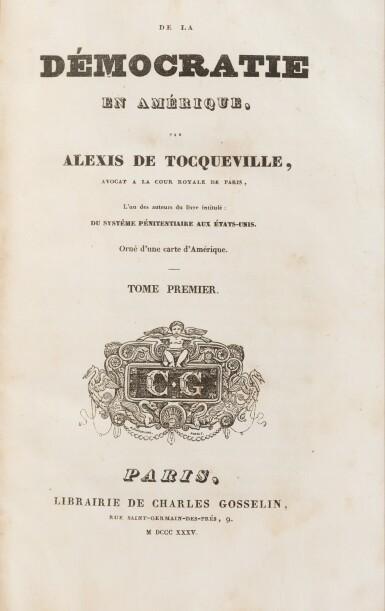 View 3. Thumbnail of Lot 179. De la démocratie en Amérique. 1835-1840. 4 vol. Rare en reliure époque. Ex-Libris Georges Pompidou..