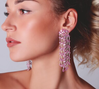 View 4. Thumbnail of Lot 16. PAIR OF PINK SAPPHIRE AND DIAMOND EARRINGS, MICHELE DELLA VALLE.