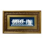 A PÂTE-SUR-PÂTE PEACOCK-BLUE-GROUND RECTANGULAR PLAQUE, 'LE BELIER' CIRCA 1883-84