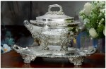 A REGENCY SILVER TWO-HANDLED SOUP TUREEN, COVER, STAND, AND LINER, PHILIP RUNDELL FOR RUNDELL, BRIDGE AND RUNDELL, LONDON, 1819