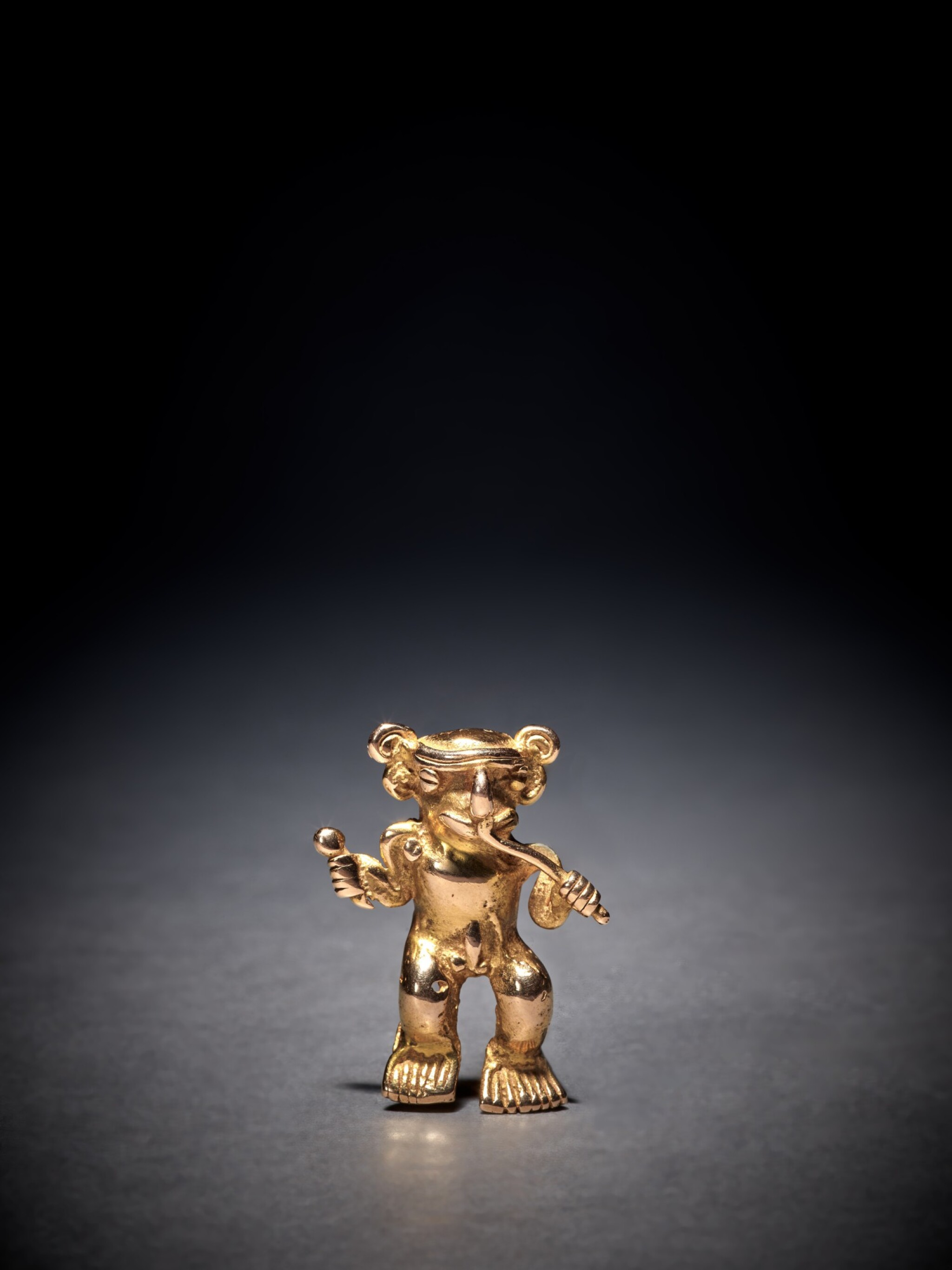 View full screen - View 1 of Lot 91. Chiriquí Gold Figure of a Musician Circa AD 800 - 1500.