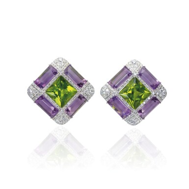 PAIR OF AMETHYST, PERIDOT AND DIAMOND EAR CLIPS, MICHELE DELLA VALLE