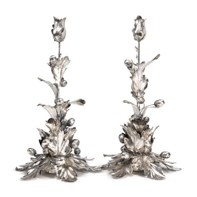 View 2. Thumbnail of Lot 234. A PAIR OF TALL ITALIAN SILVER CANDLESTICKS, FLORENCE, SECOND HALF 20TH CENTURY.