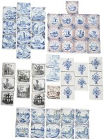 A COLLECTION OF ENGLISH AND DUTCH DELFTWARE TILES, MAINLY LATE 18TH CENTURY