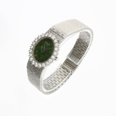 View 3. Thumbnail of Lot 63. PIAGET   REFERENCE 9338 A 6  A WHITE GOLD AND DIAMOND-SET BRACELET WATCH WITH JADE DIAL, CIRCA 1985.