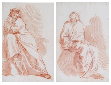 FRENCH SCHOOL, 18TH CENTURY | Two studies of draped male and female figures