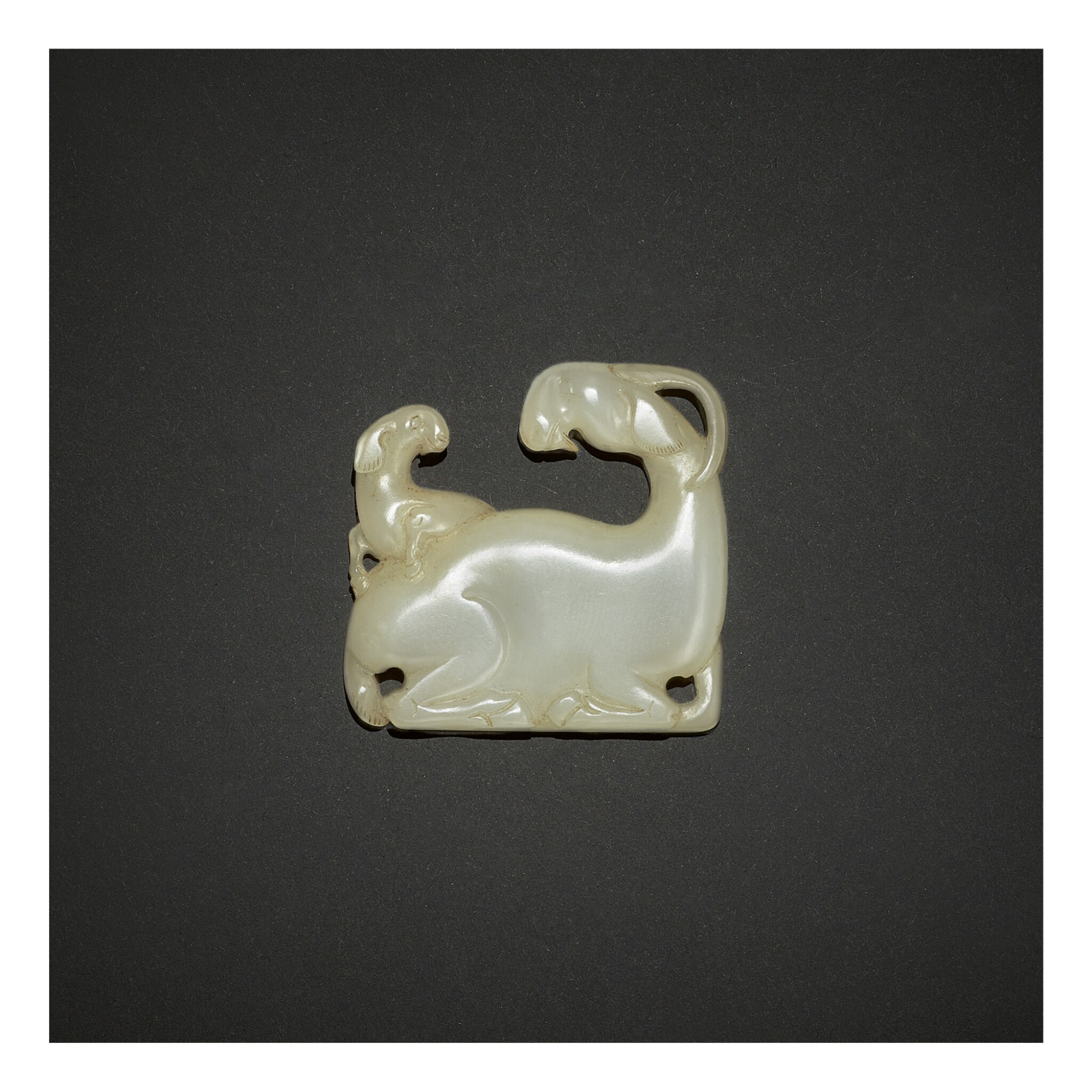 View full screen - View 1 of Lot 253. AN EXCEPTIONALLY RARE WHITE JADE 'GOAT' PLAQUE,  SONG - YUAN DYNASTY.