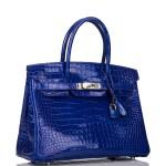 Hermès Bleu Electrique Birkin 30cm of Shiny Porosus Crocodile with Palladium Hardware