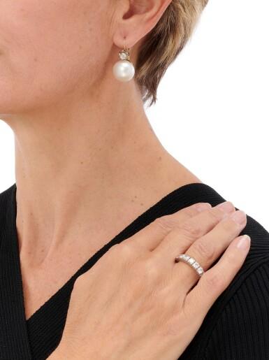 View 4. Thumbnail of Lot 90. PAIR OF CULTURED PEARL AND DIAMOND EARRINGS AND DIAMOND ETERNITY RING   (PAIO DI ORECCHINI CON PERLE COLTIVATE E DIAMANTI E RIVIERA IN DIAMANTI).