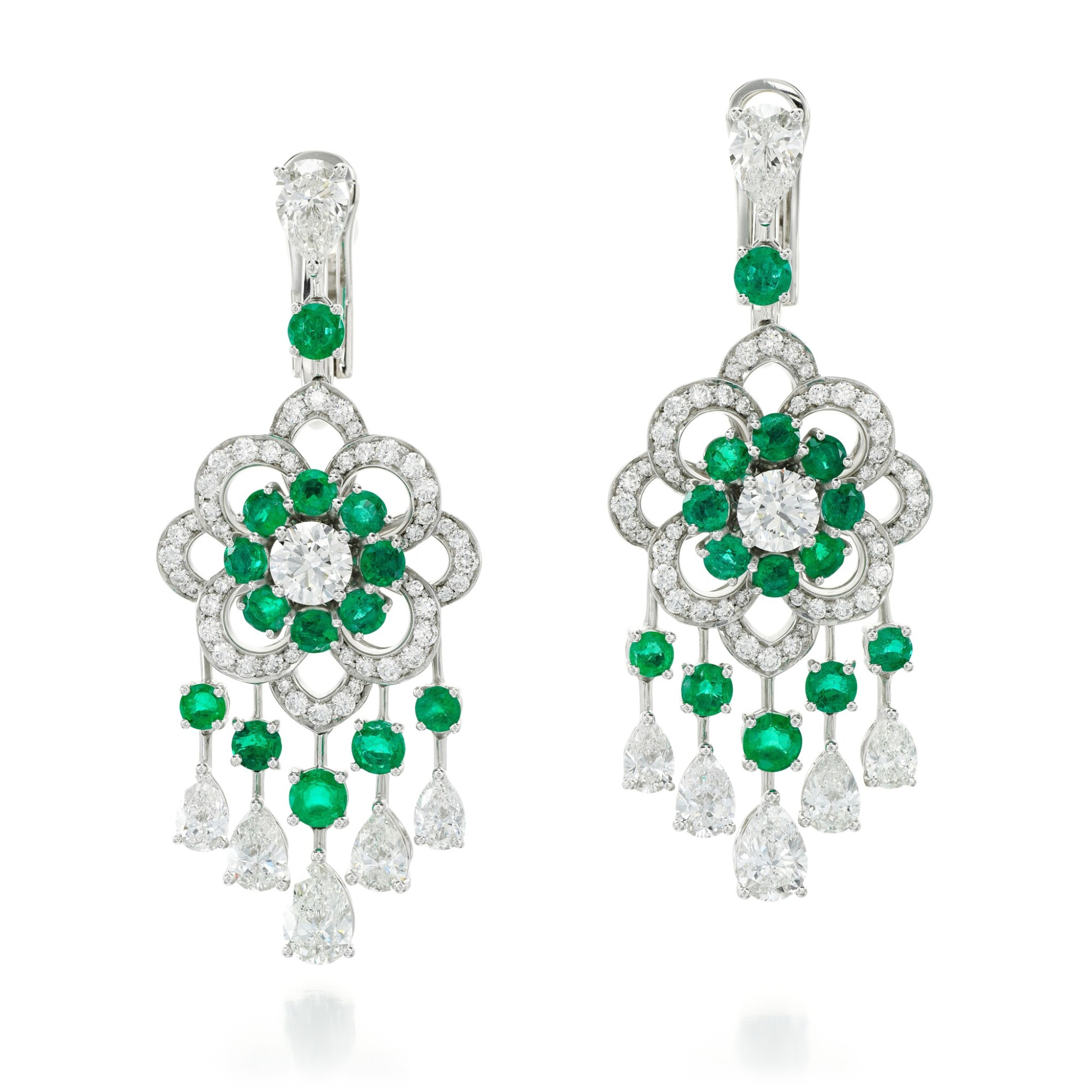 View full screen - View 1 of Lot 32.  GRAFF | PAIR OF EMERALD AND DIAMOND EARRINGS.