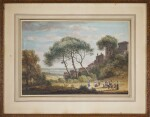 PAUL SANDBY, R.A. | Italianate landscape with rustics merrymaking